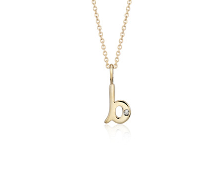 """B"" Mini Initial Pendant with Diamond Detail in 14k Yellow Gold"