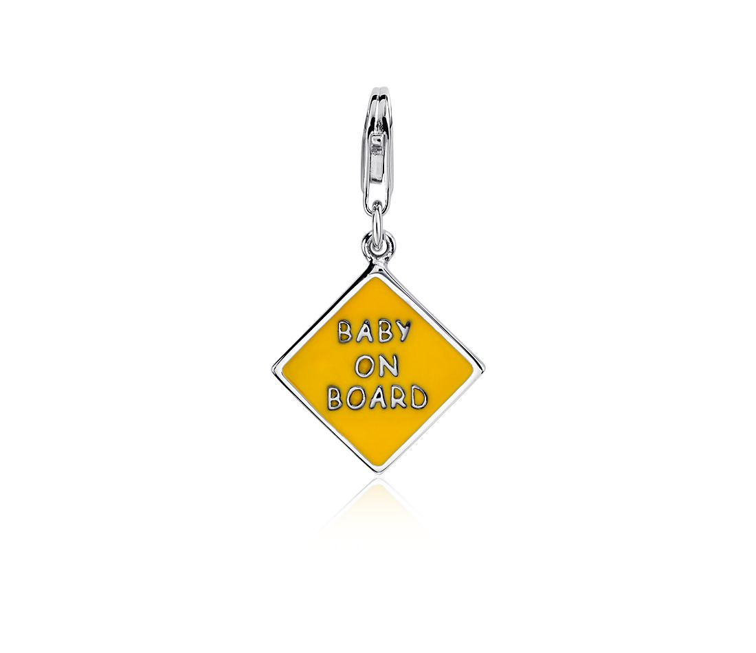 """Baby on Board"" Charm in Sterling Silver"