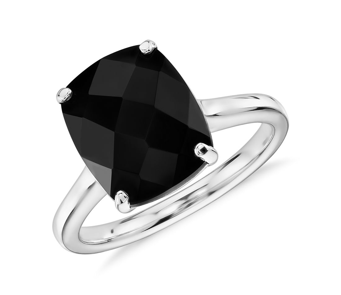 Black Onyx Cushion Cocktail Ring in 14k White Gold (11x9mm)