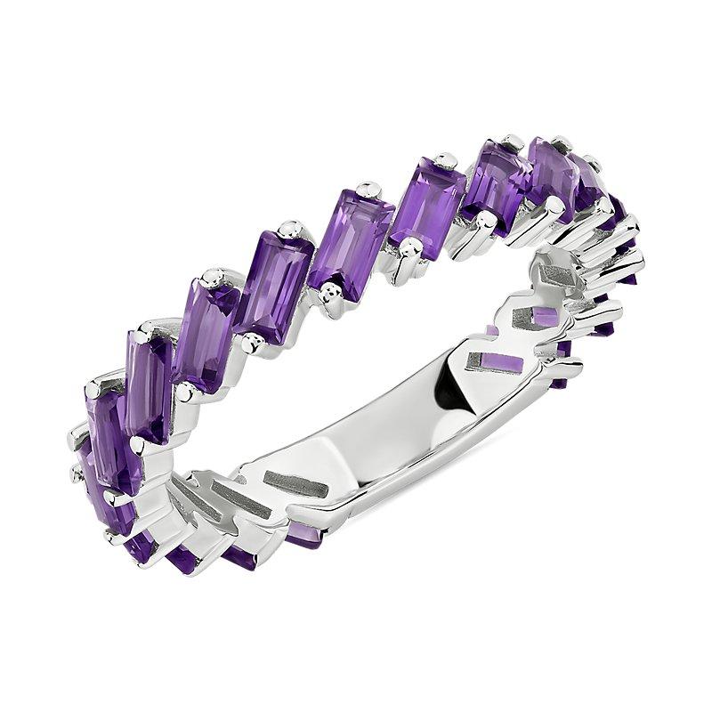 Baguette Amethyst Ring in Sterling Silver