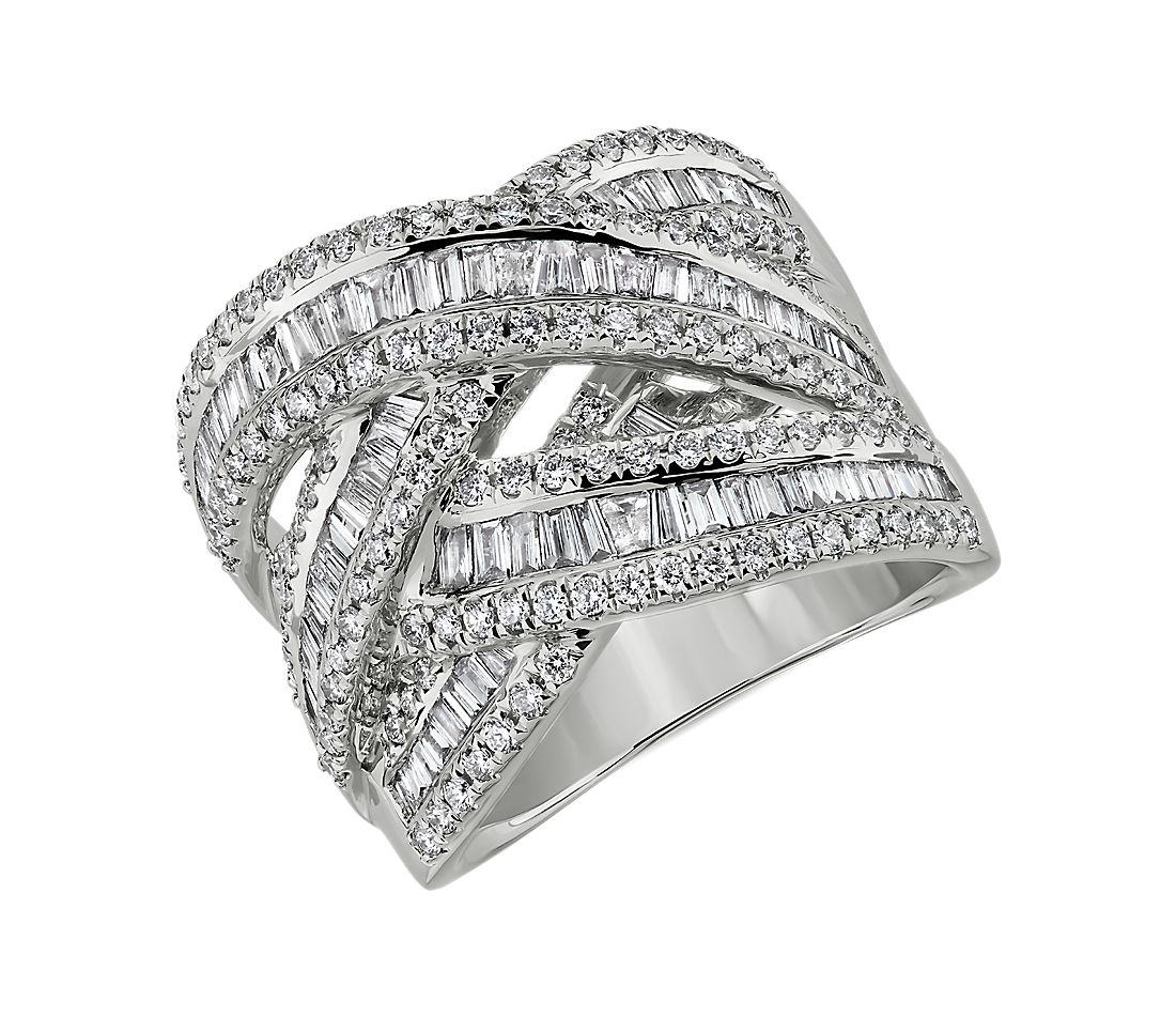Baguette and Round Diamond Fashion Ring in 14k White Gold (1 1/2 ct. tw.)