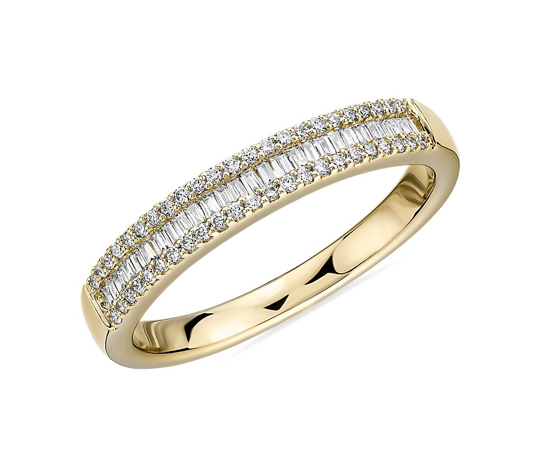 Baguette & Pavé Diamond Channel Wedding Band in 14k Yellow Gold (0.23 ct. tw.)
