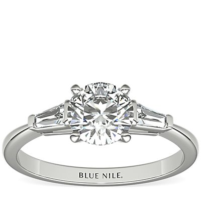 Tapered Baguette Diamond Engagement Ring in 14k White Gold