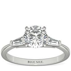Tapered Baguette Diamond Engagement Ring in 14k White Gold