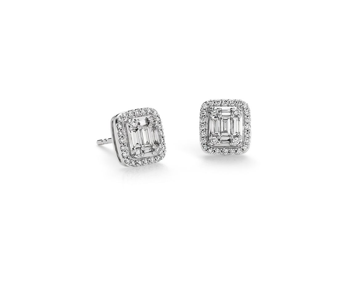 Baguette Diamond Halo Stud Earrings In 18k White Gold 1 2