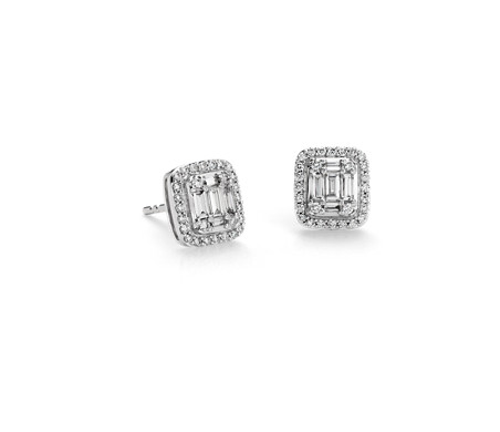 Puces d'oreilles halo de diamants baguette en or blanc 18 carats (1/2 carat, poids total)