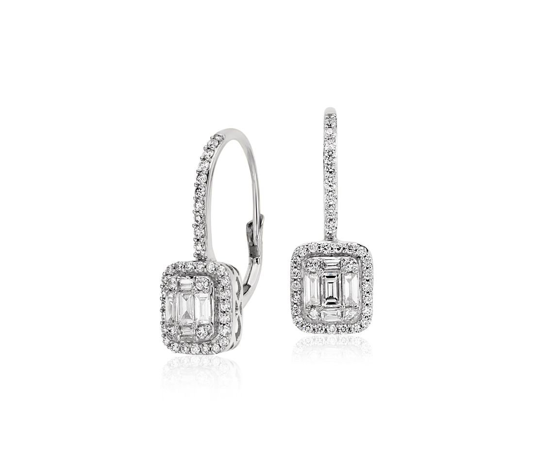 Baguette Diamond Lever Back Drop Earrings In 18k White Gold 3 4 Ct