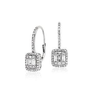 Baguette Diamond Leverback Earrings in 18k White Gold