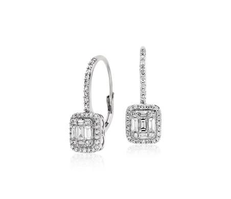 18k 白金长方形钻石回弹背扣吊式耳环<br>(3/4 克拉总重量)