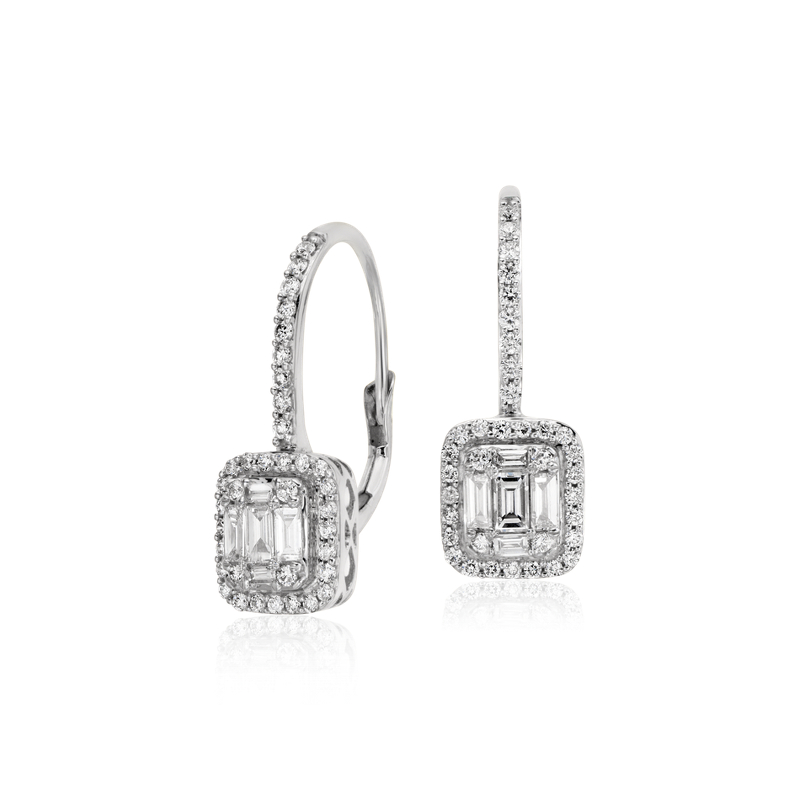 Baguette Diamond Lever Back Drop Earrings in 18k White Gold (3/4
