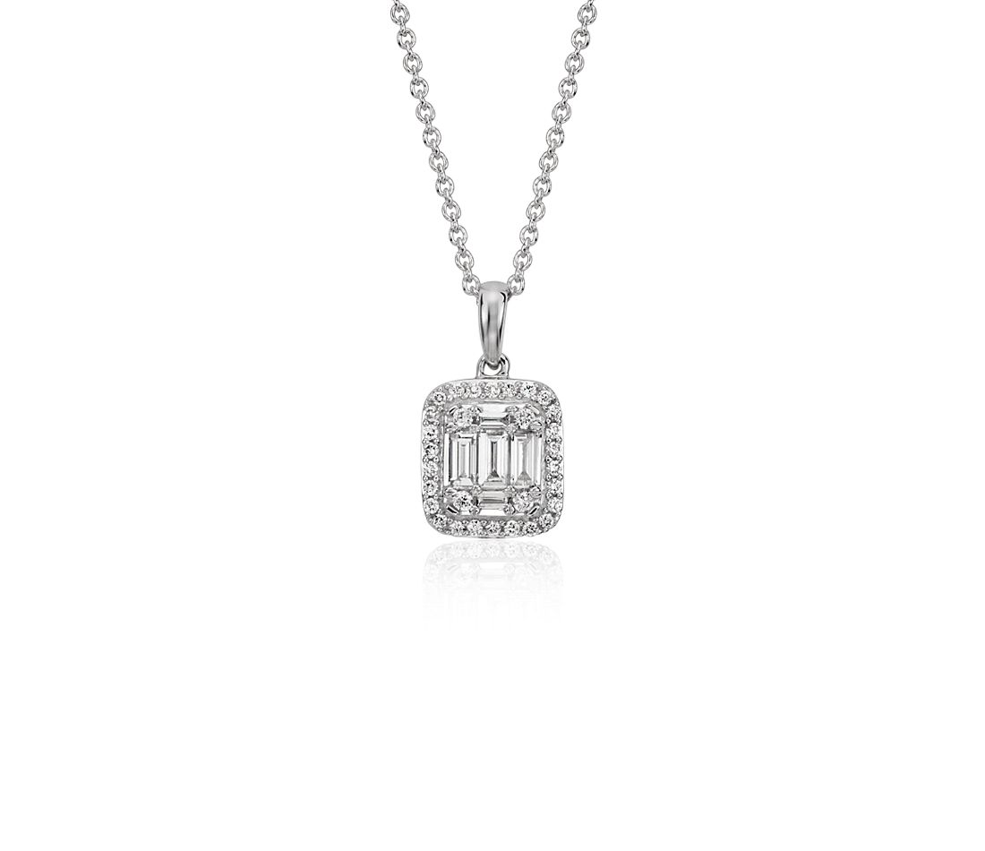 Baguette Diamond Halo Pendant in 18k White Gold (2/5 ct. tw.)