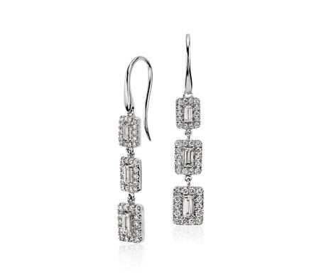Diamond Baguette Halo Triple Drop Earrings in 14k White