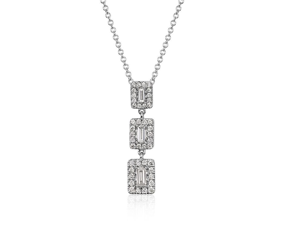 Baguette Diamond Triple Halo Necklace in 14k White Gold (3