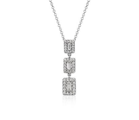 Baguette Diamond Triple Halo Necklace in 14k White Gold (3