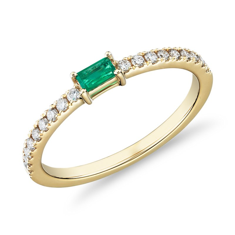 Baguette Emerald and Diamond Pavé Stacking Ring in 14k Yel
