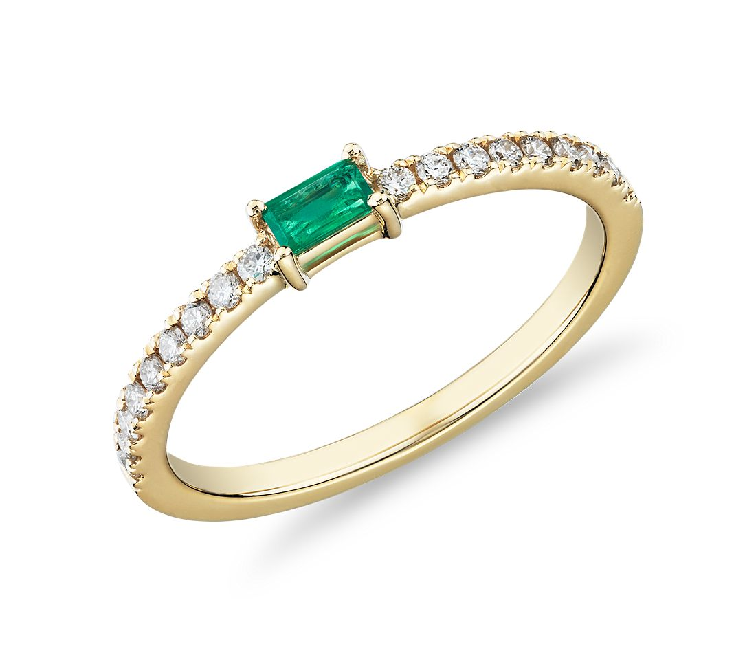 Baguette Emerald and Diamond Pavé Stacking Ring in 14k Yellow Gold (3.5x2mm)