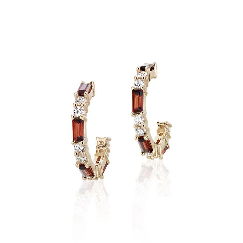 Baguette Garnet and Diamond Hoop Earrings in 14k Yellow Gold (4x2