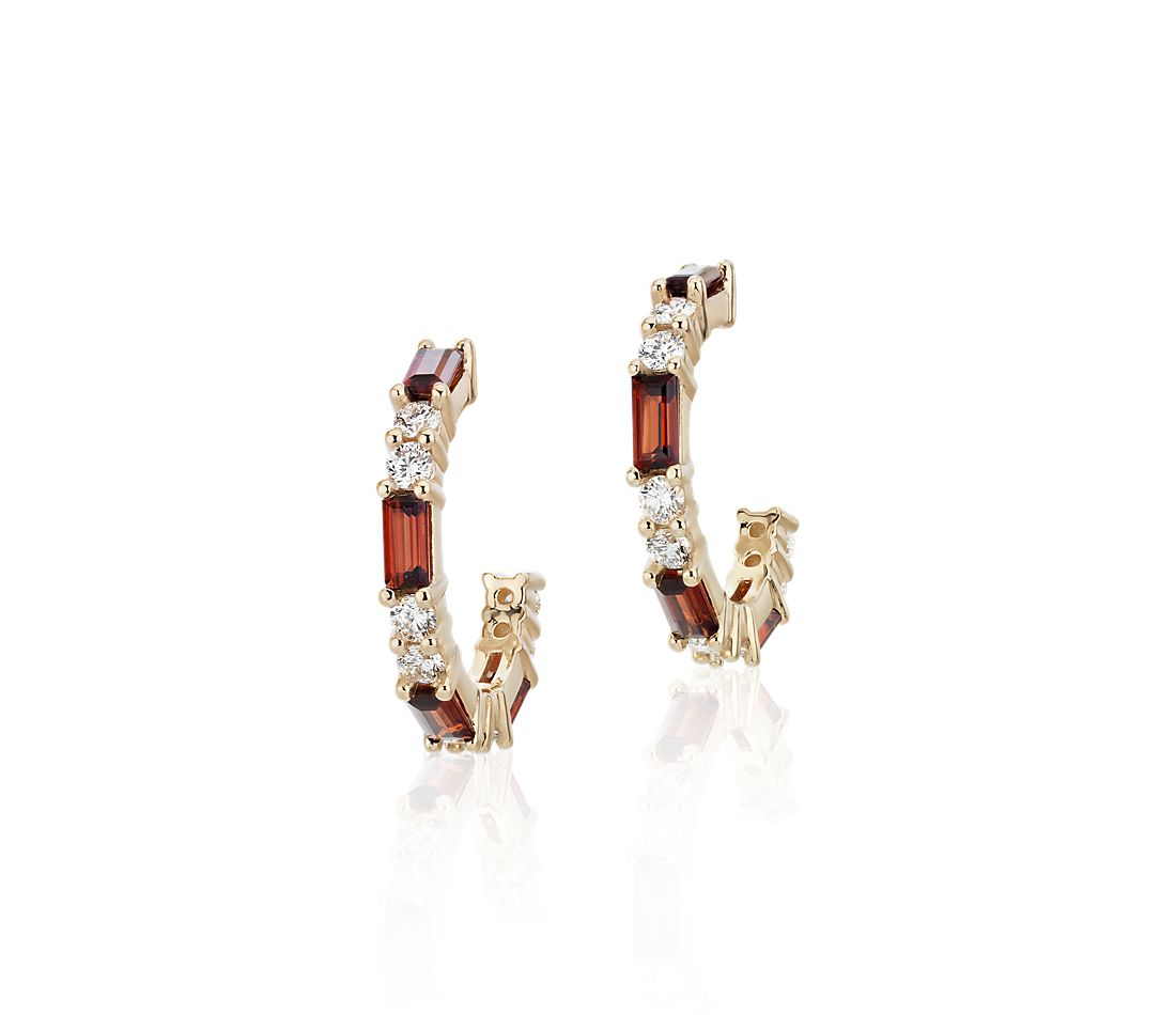 Baguette Garnet and Diamond Hoop Earrings in 14k Yellow Gold (4x2mm)