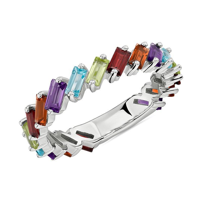 Baguette Multi-Gemstone Ring in Sterling Silver