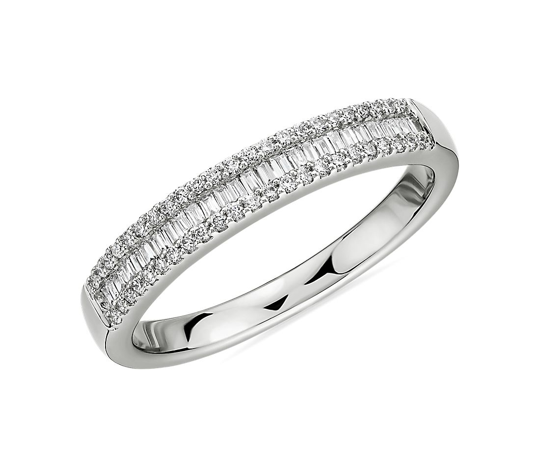 Baguette Cut & Round Pavé Diamond Channel Wedding Band in 14k White Gold- I/SI2 (1/4 ct. tw.)
