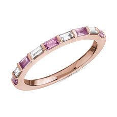 Baguette Pink Sapphire and Diamond Ring in 14k Rose Gold