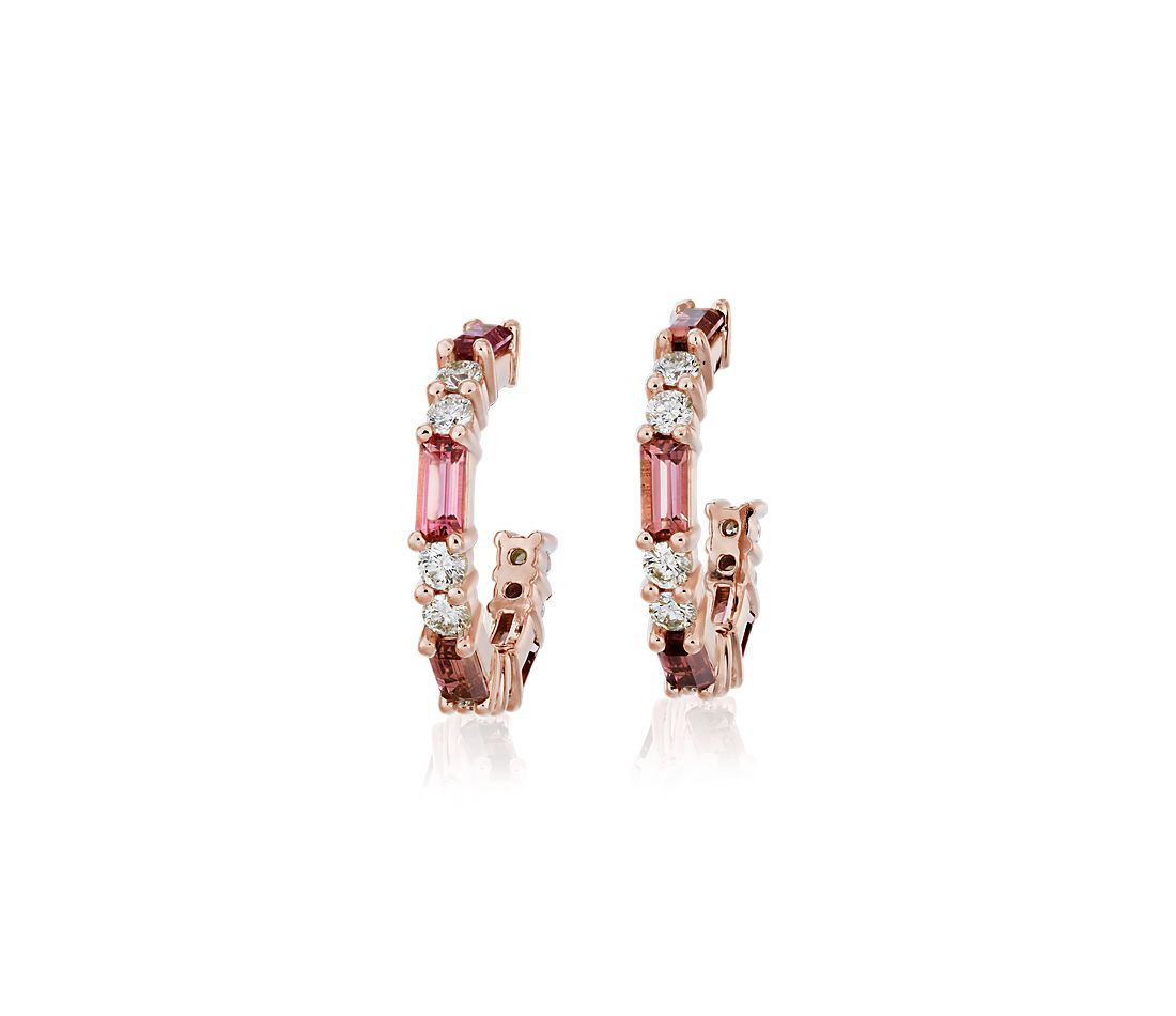Baguette Pink Tourmaline and Diamond Hoop Earrings in 14k Rose Gold (4x2mm)