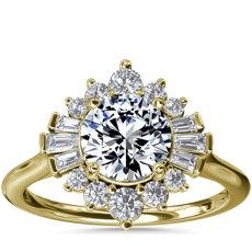 NEW Baguette and Round Ballerina Anillo de compromiso de diamantes de halo in oro amarillo de 14k