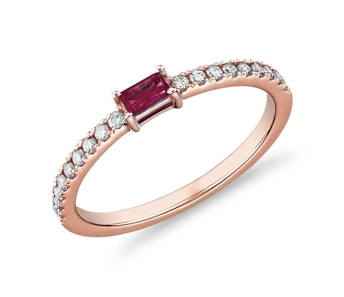 Baguette Ruby and Diamond Pavé Stacking Ring in 14k Rose Gold (3.5x2mm)