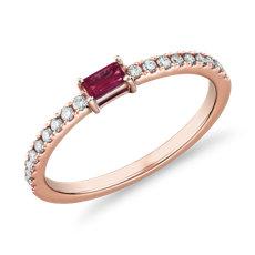 Anillo apilable con pavé de diamantes y rubí de talla baguette en oro rosado de 14k (3,5 x 2mm)