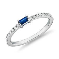 Baguette Sapphire and Diamond Pavé Stacking Ring in 14k White Gold (3.5x2mm)