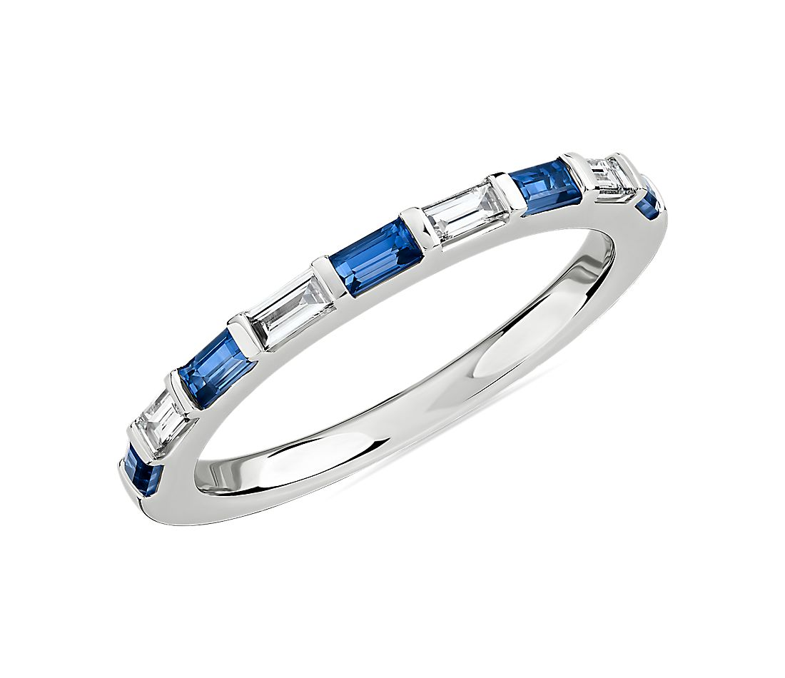 Baguette Sapphire and Diamond Ring in 14k White Gold