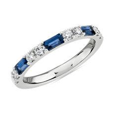 14k 白金長方形藍寶石與鑽石相間排列戒指