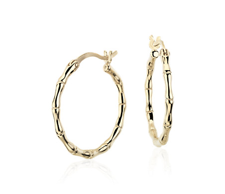 Blue Nile Bamboo Hoop Earrings in Sterling Silver (11/16) PSNIbJiydr