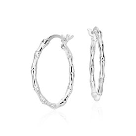 "Bamboo Hoop Earrings in Sterling Silver (11/16"")"