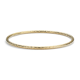 Hammered Bangle Bracelet in 14k Yellow Gold