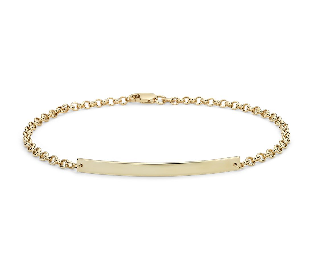 Engravable Bar Bracelet in 14k Yellow Gold