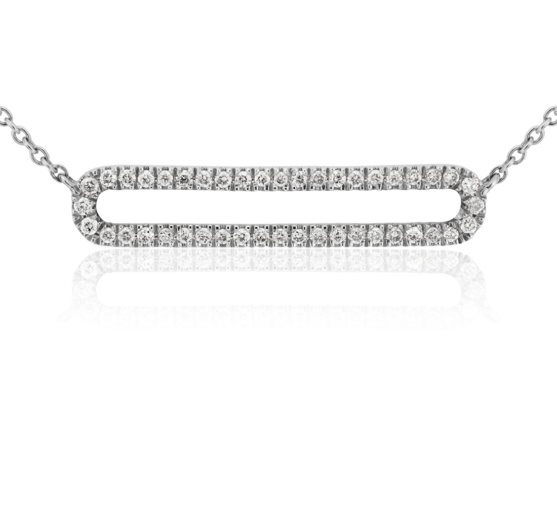 Collar de diamantes con barras abiertas pequeñas en oro blanco de 14 k