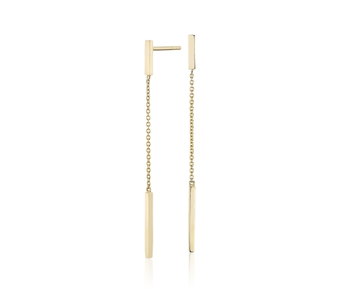 Bar Drop Earrings in 14k Yellow Gold
