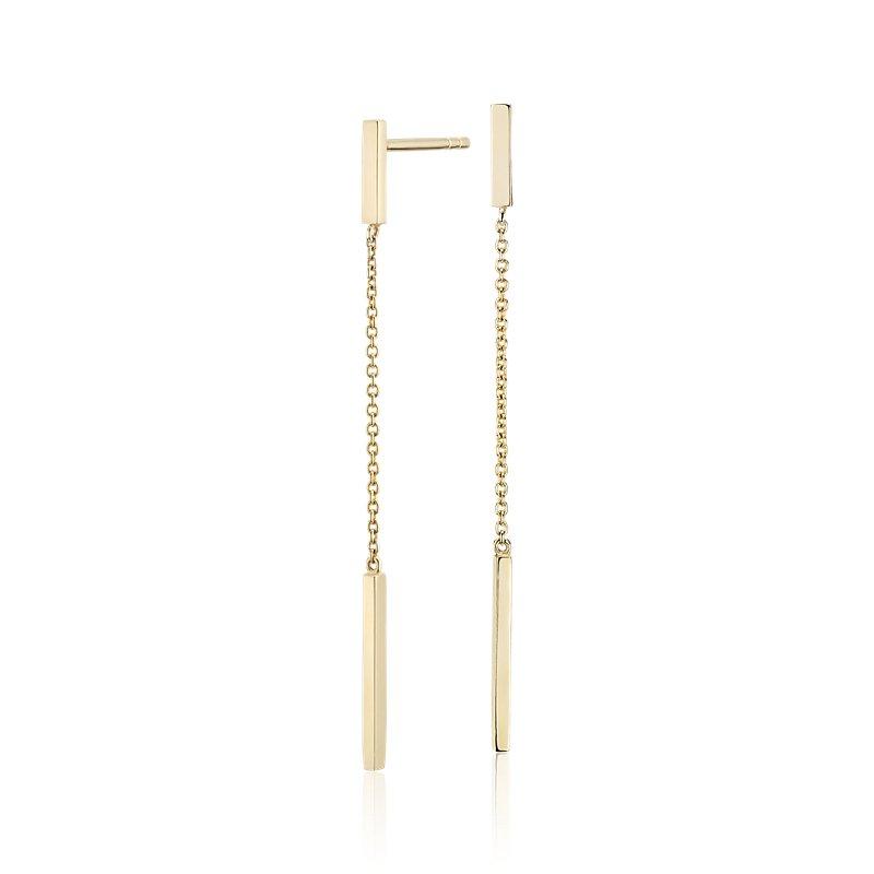Bar Drop Earrings in 14k Yellow Gold