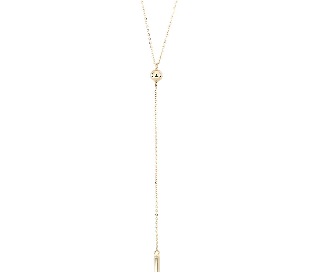 Bar Drop Y-Necklace in 14k Yellow Gold