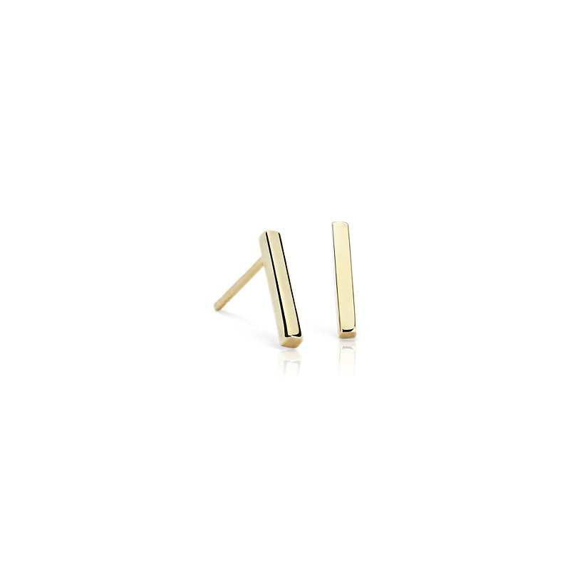 Bar Stud Earrings in 14k Yellow Gold