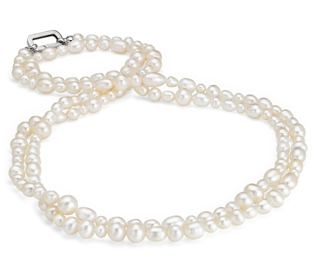 "Baroque Freshwater Cultured Pearl Strand Necklace in Sterling Silver - 60"" Long"
