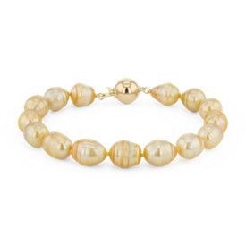 Bracelet de perles des mers du Sud dorées baroques en or jaune 18carats (8,9mm)