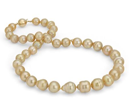 バロックゴールデン南洋養殖真珠ネックレス K18イエローゴールド (8.9-11 mm)