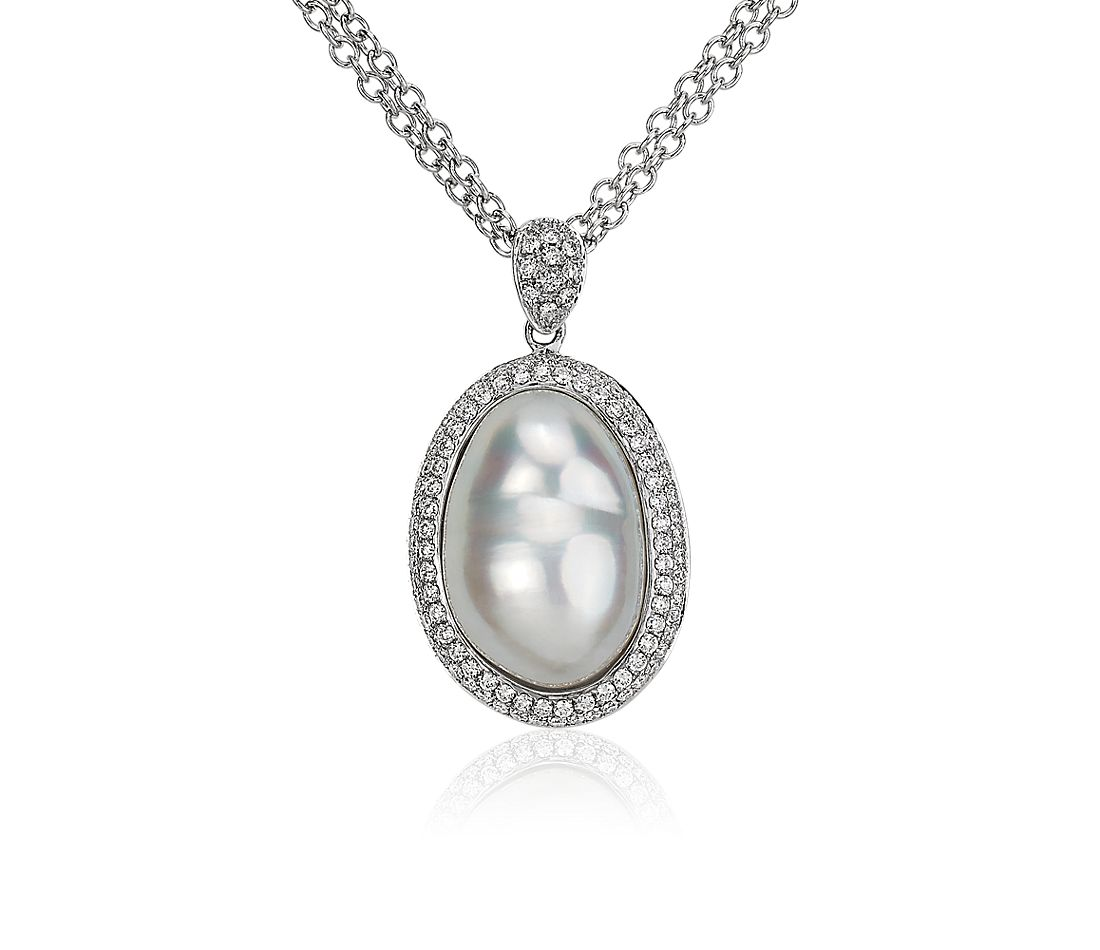 Baroque Pearl and Diamond Halo Pendant in 18k White Gold (11-12mm)