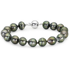 Baroque Tahitian Cultured Pearl Bracelet with 18k White Gold (10-11mm)