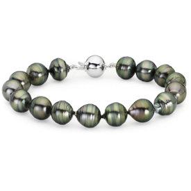 Brazalete barroco de perlas cultivadas de Tahití con oro blanco de 18 k (9.9mm)