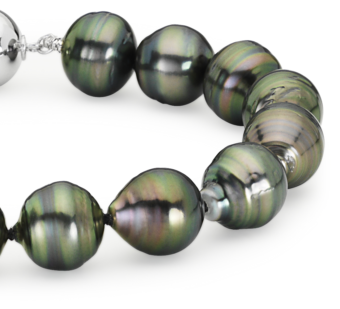 Baroque Tahitian Cultured Pearl Bracelet with 18k White Gold (9.9mm)