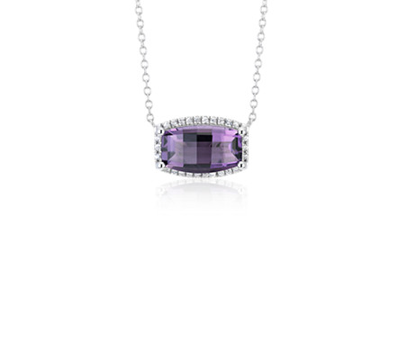 Barrel Amethyst White Topaz Halo Pendant in Sterling Silver (12x7mm)
