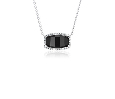 Barrel Black Onyx White Topaz Halo Pendant in Sterling Silver (12x7mm)